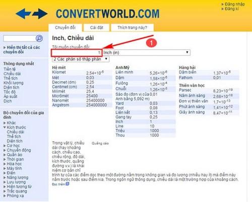 Chuyển đổi đơn vị đo bằng công cụ ConvertWord